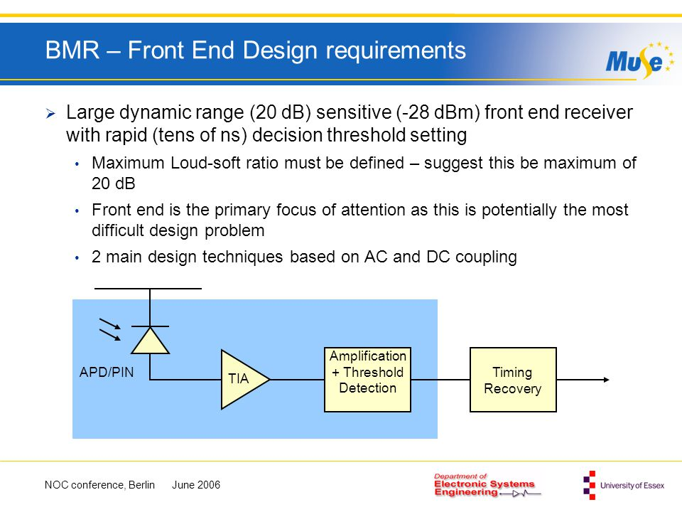 BMR – Front End Design requirements