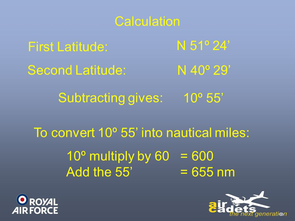 To convert 10º 55' into nautical miles:
