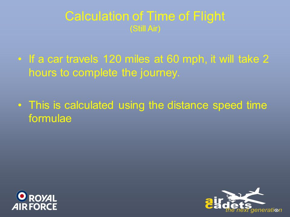 Calculation of Time of Flight (Still Air)