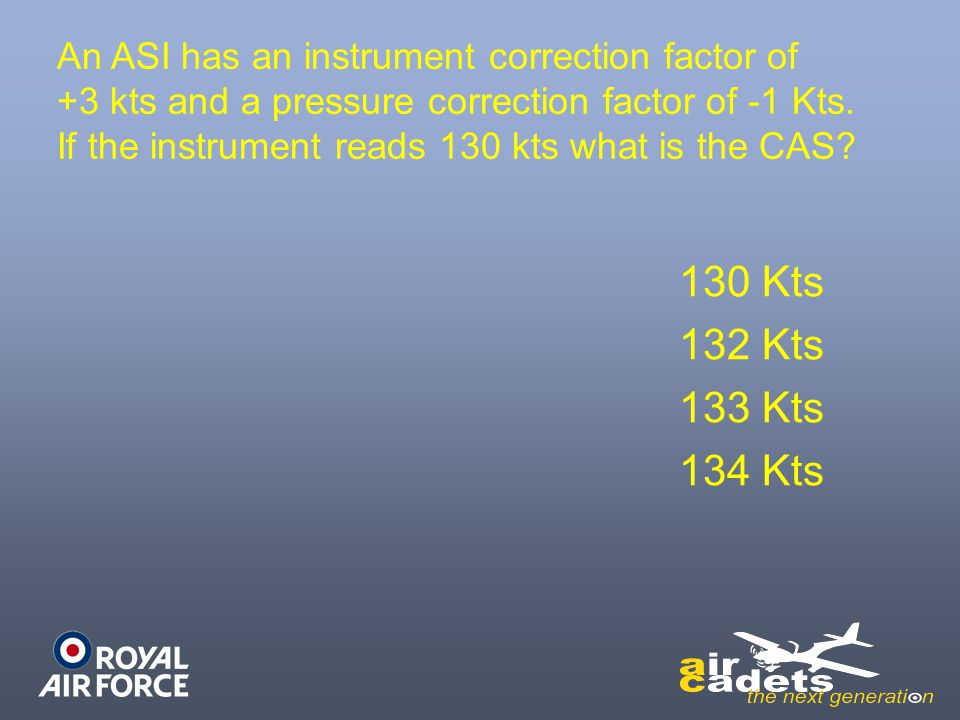 An ASI has an instrument correction factor of