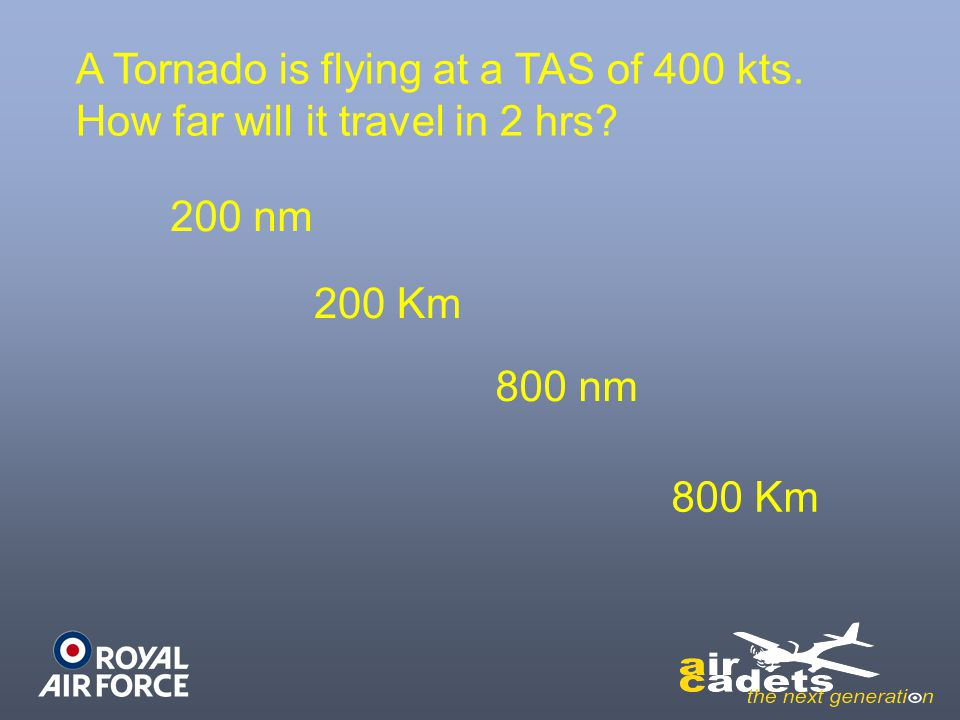 A Tornado is flying at a TAS of 400 kts.