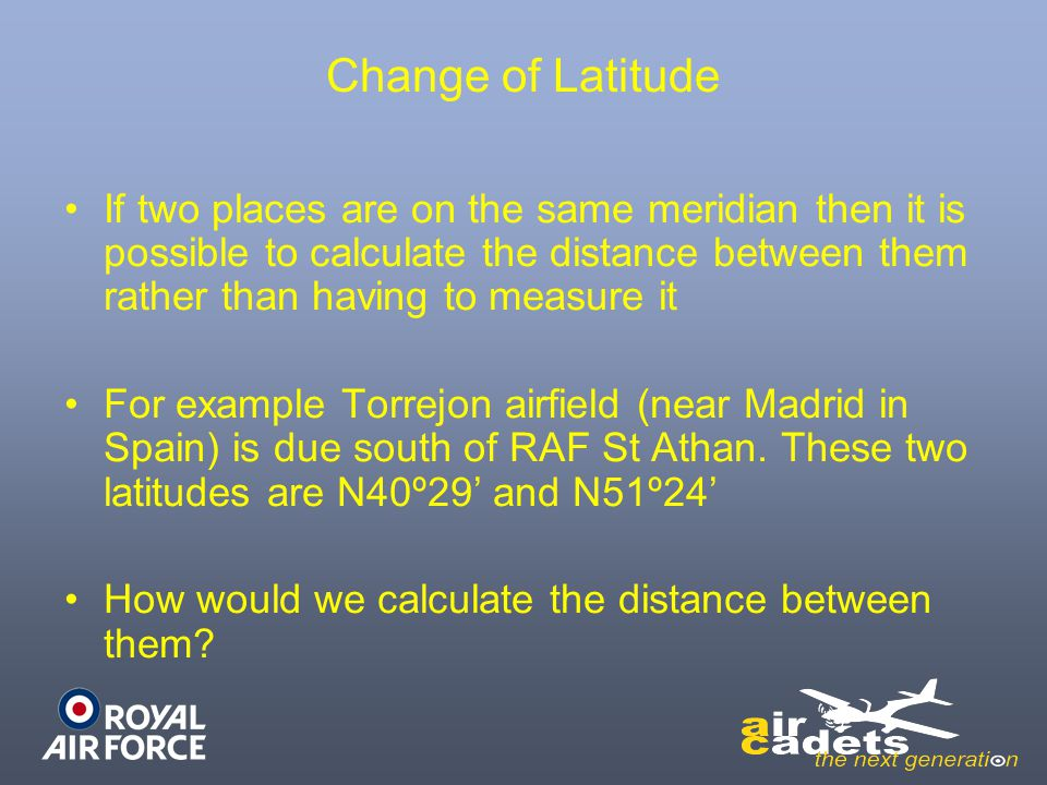 Change of Latitude If two places are on the same meridian then it is possible to calculate the distance between them rather than having to measure it.