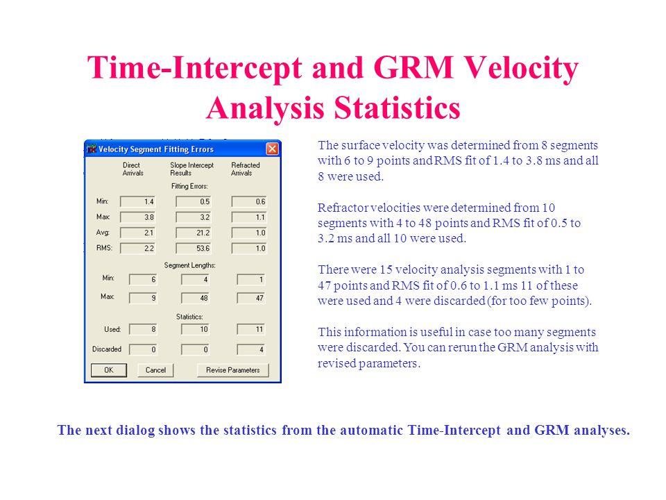 Time-Intercept and GRM Velocity Analysis Statistics