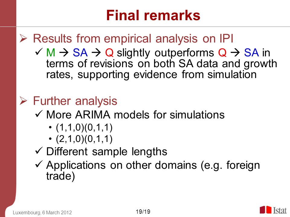 Final remarks Results from empirical analysis on IPI Further analysis