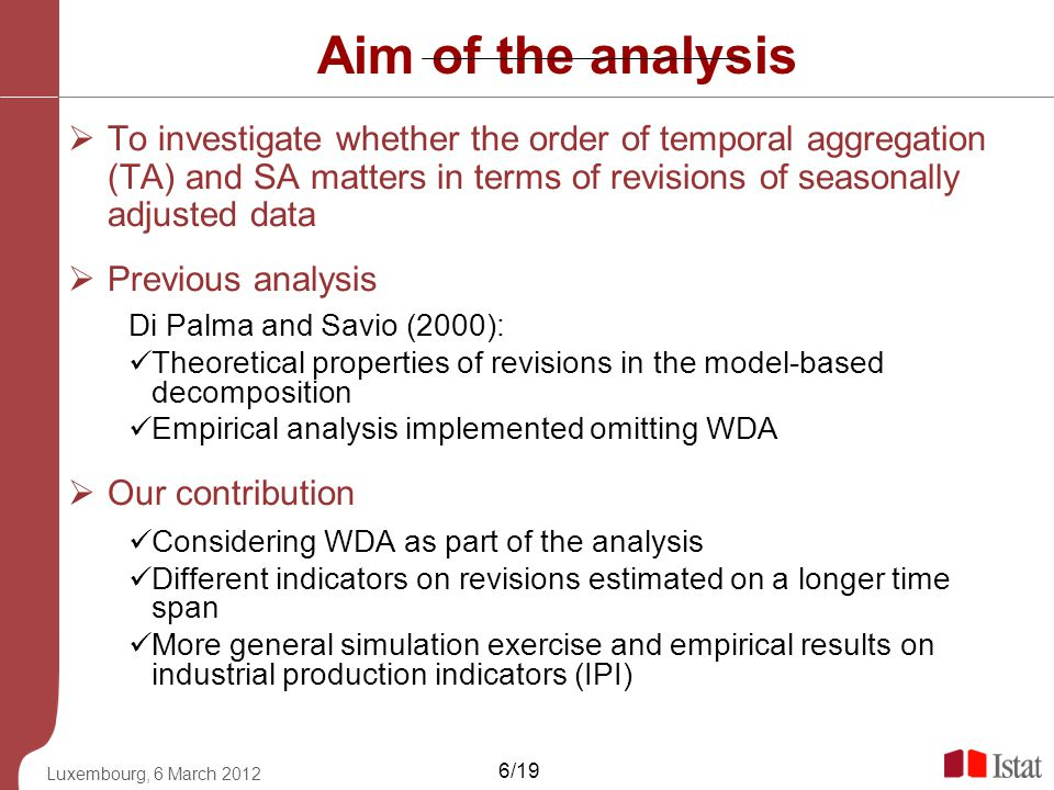 Aim of the analysis To investigate whether the order of temporal aggregation (TA) and SA matters in terms of revisions of seasonally adjusted data.