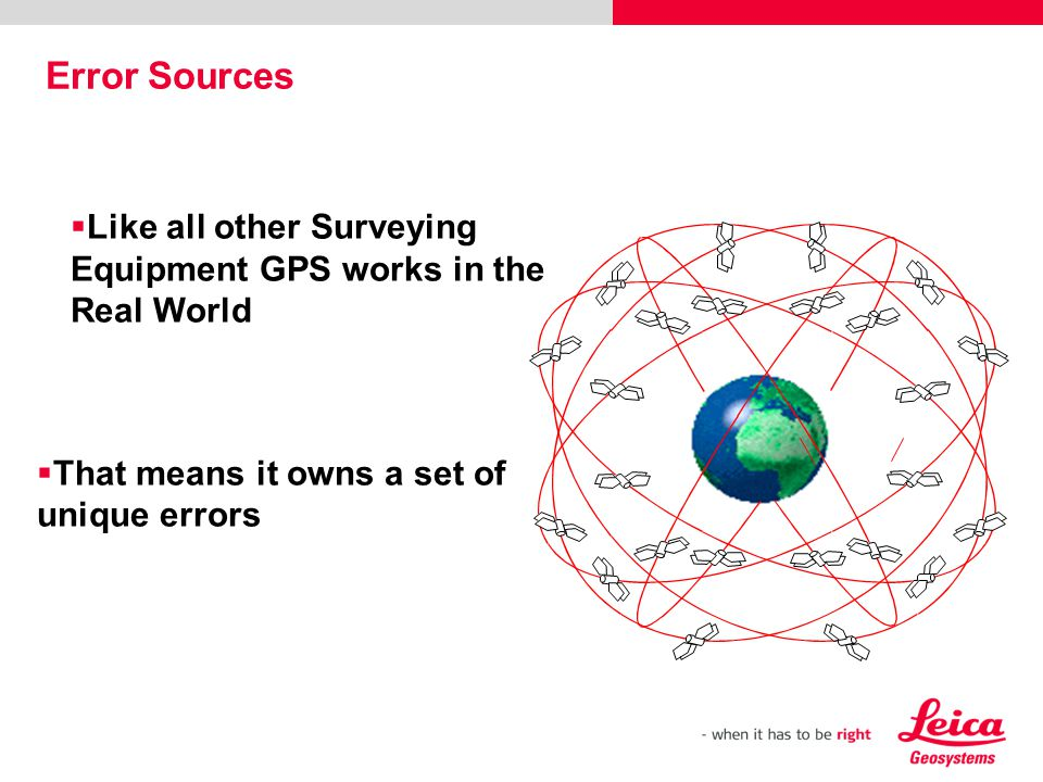 Error Sources Like all other Surveying Equipment GPS works in the Real World.
