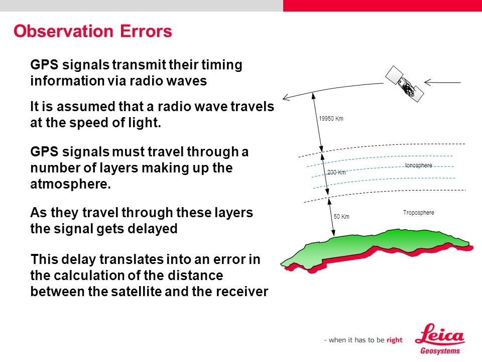 Observation Errors GPS signals transmit their timing information via radio waves. It is assumed that a radio wave travels at the speed of light.