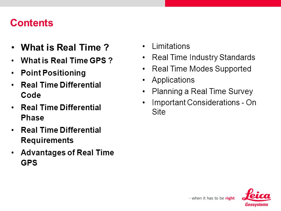 Contents What is Real Time Limitations Real Time Industry Standards