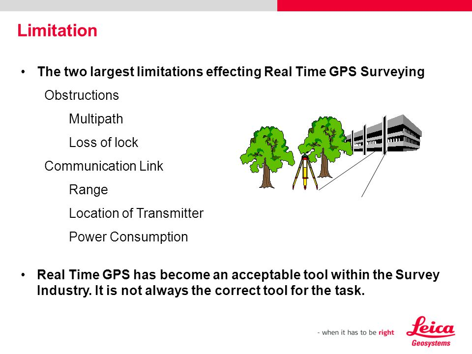 Limitation The two largest limitations effecting Real Time GPS Surveying. Obstructions. Multipath.