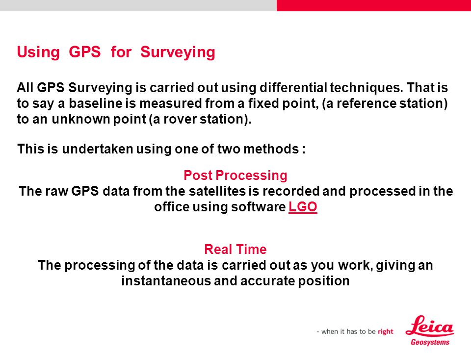 Using GPS for Surveying