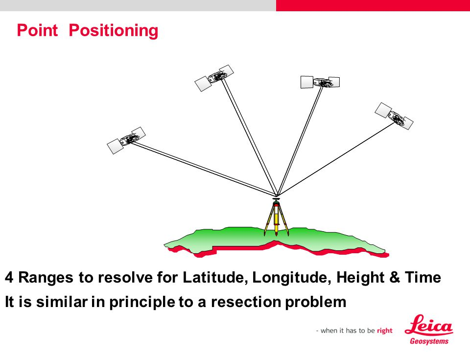 Point Positioning 4 Ranges to resolve for Latitude, Longitude, Height & Time.