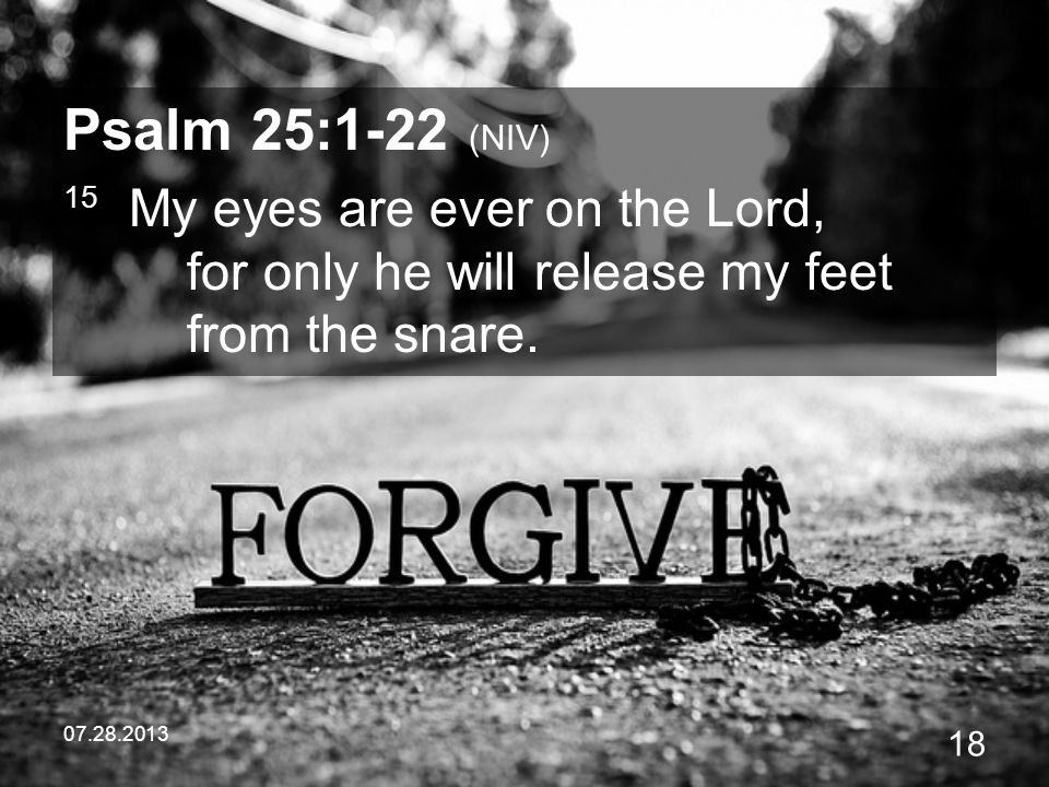 Psalm 25:1-22 (NIV) 15 My eyes are ever on the Lord, for only he will release my feet from the snare.