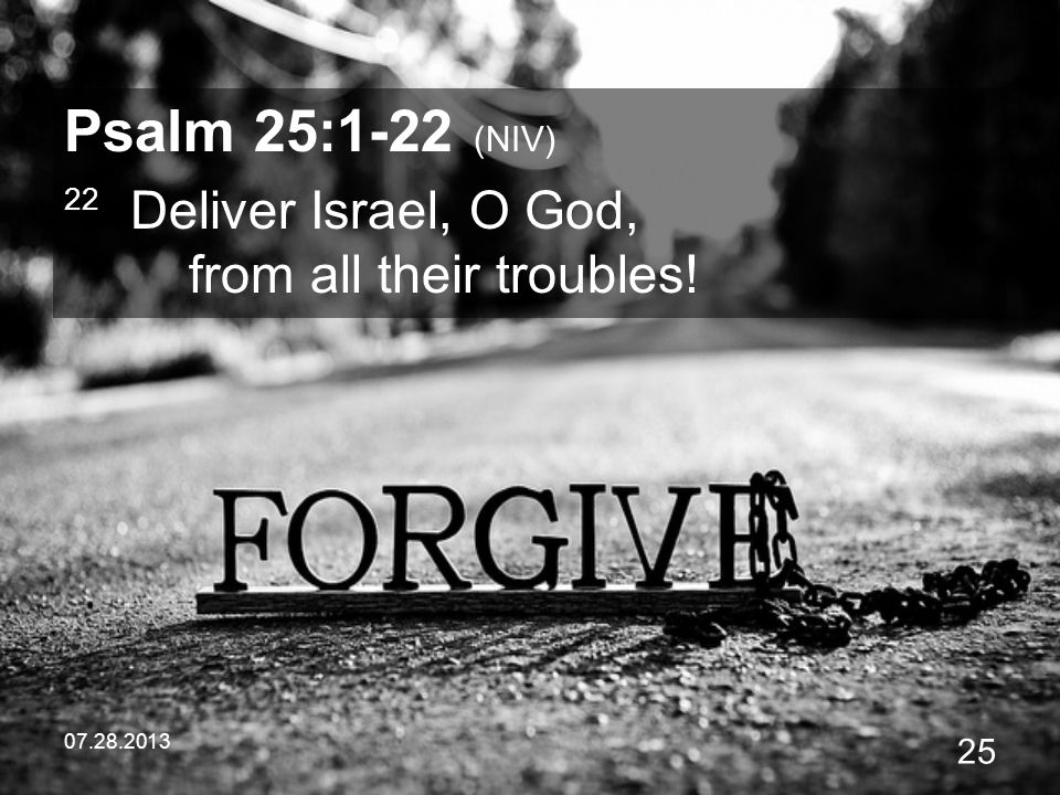 Psalm 25:1-22 (NIV) 22 Deliver Israel, O God, from all their troubles!