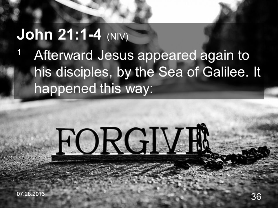 John 21:1-4 (NIV) 1 Afterward Jesus appeared again to his disciples, by the Sea of Galilee. It happened this way: