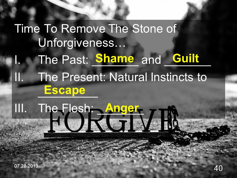 Time To Remove The Stone of Unforgiveness…