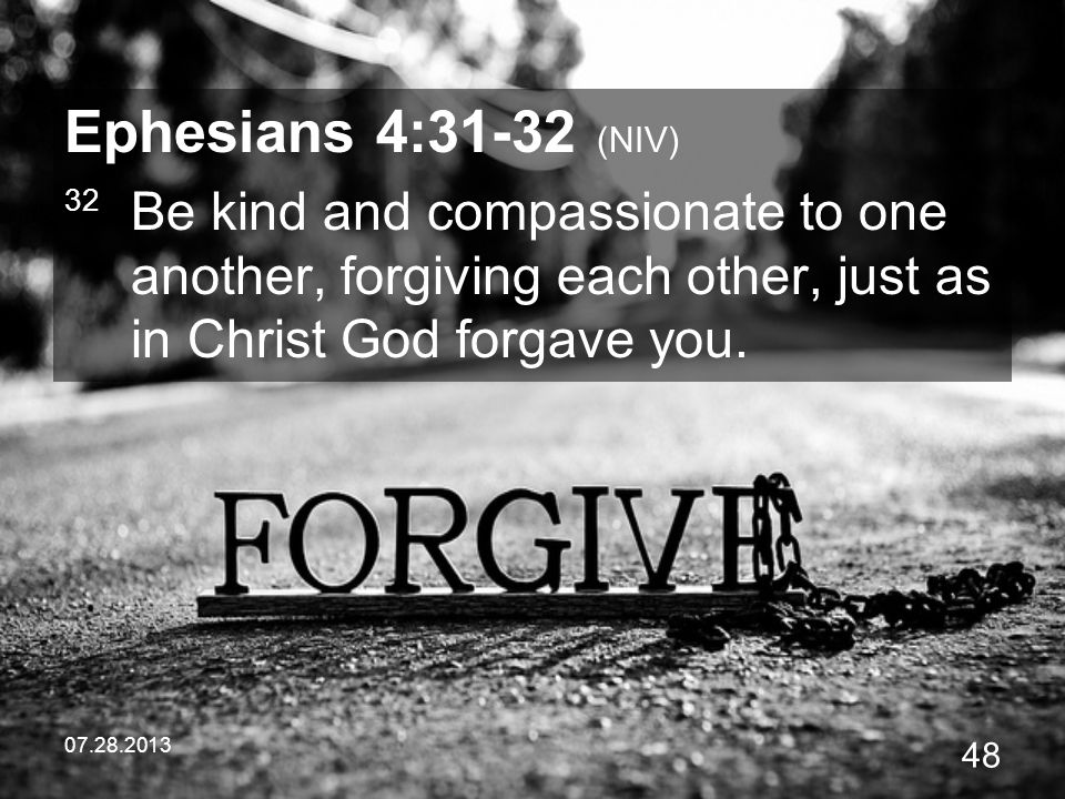 Ephesians 4:31-32 (NIV) 32 Be kind and compassionate to one another, forgiving each other, just as in Christ God forgave you.