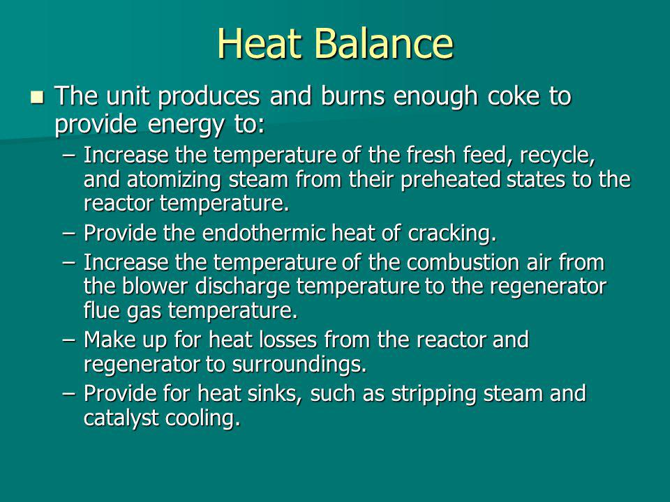 Heat Balance The unit produces and burns enough coke to provide energy to: