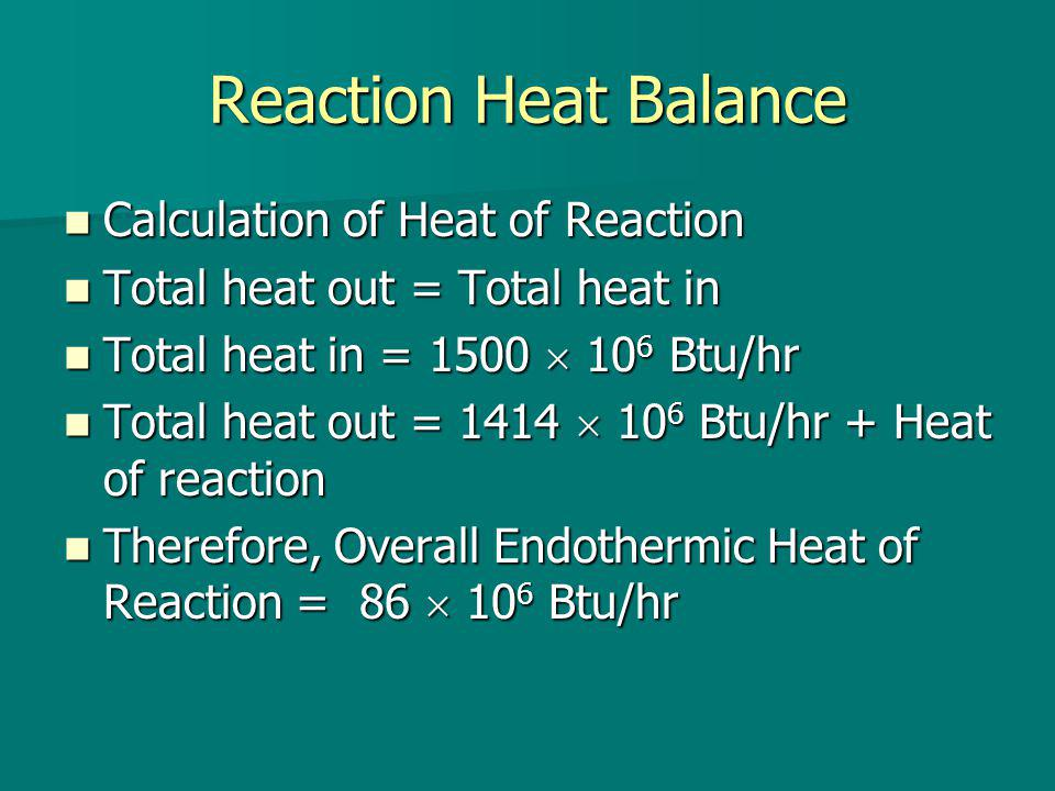 Reaction Heat Balance Calculation of Heat of Reaction