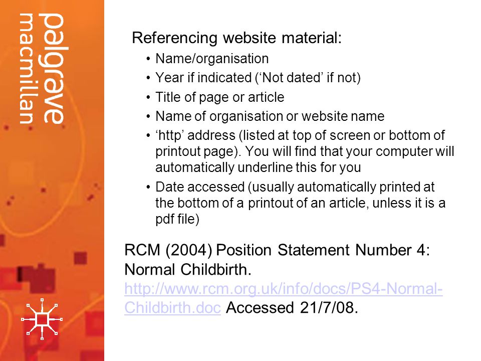 Referencing website material: