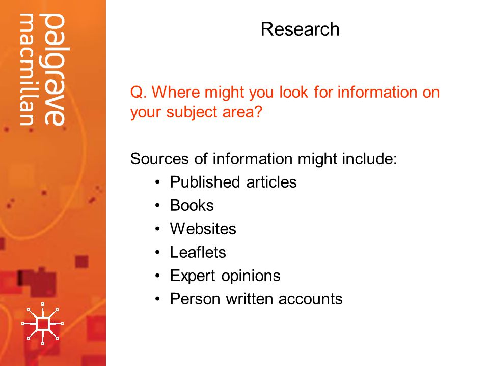 Research Q. Where might you look for information on your subject area