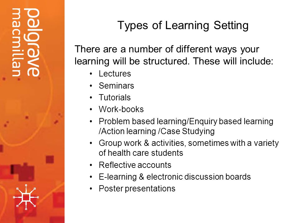 Types of Learning Setting