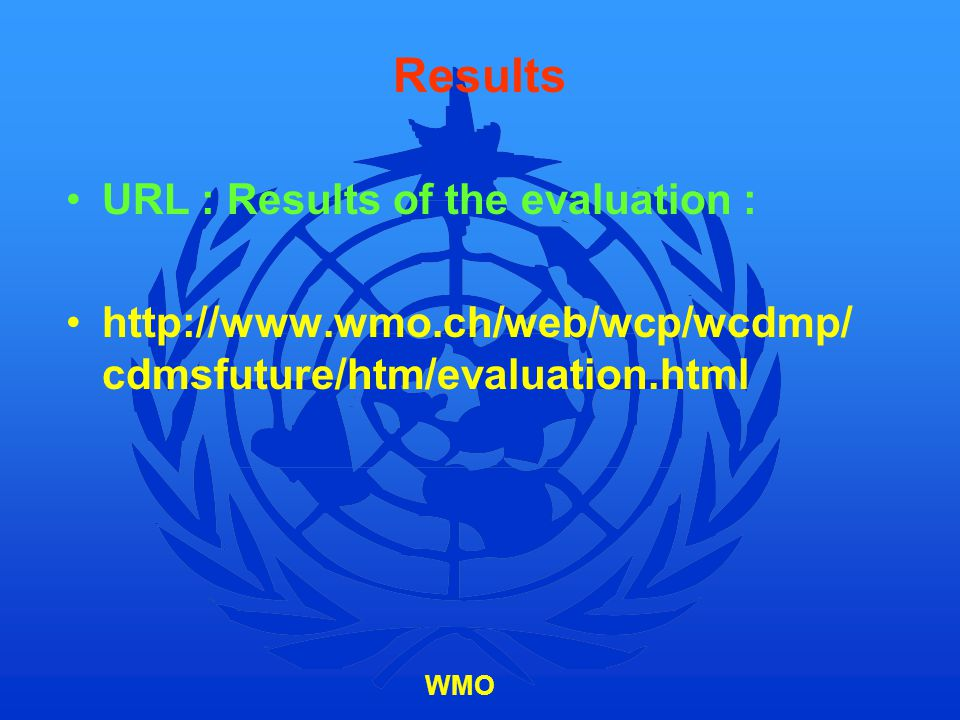 Results URL : Results of the evaluation :