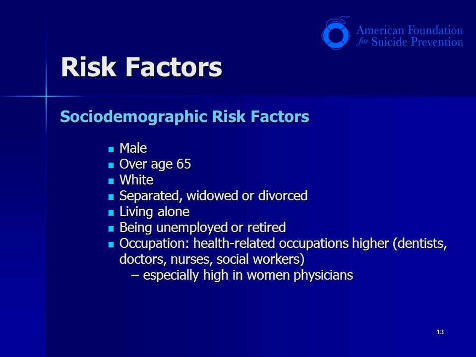 Risk Factors Sociodemographic Risk Factors Male Over age 65 White