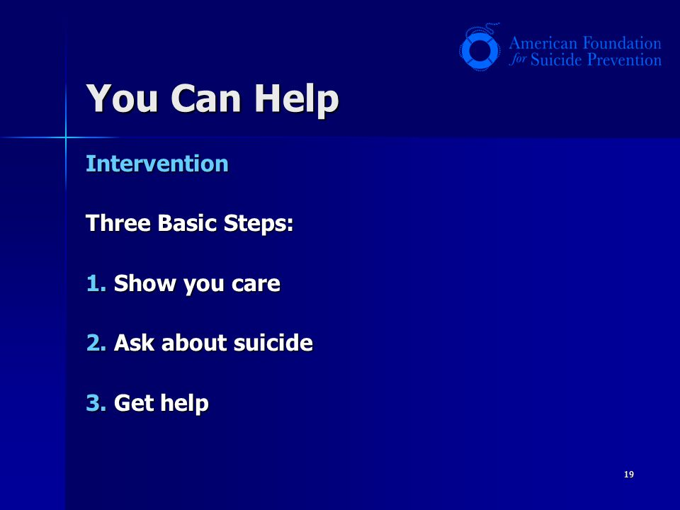 You Can Help Intervention Three Basic Steps: 1. Show you care