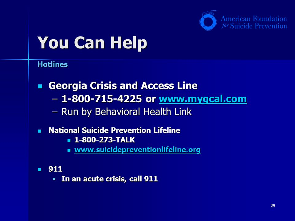 You Can Help Georgia Crisis and Access Line