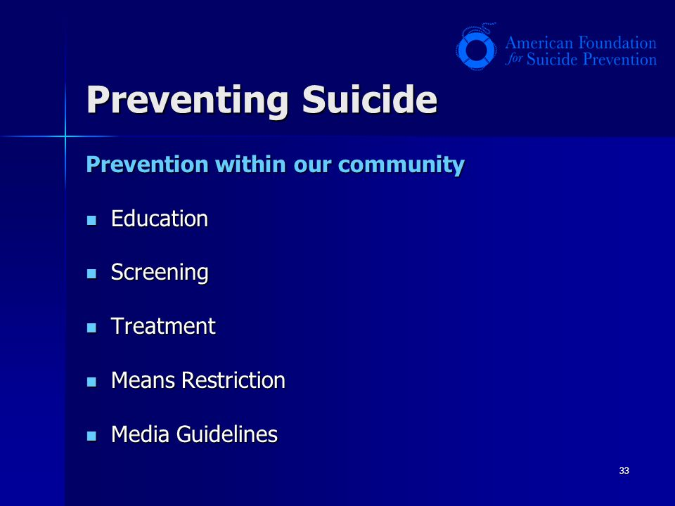 Preventing Suicide Prevention within our community Education Screening