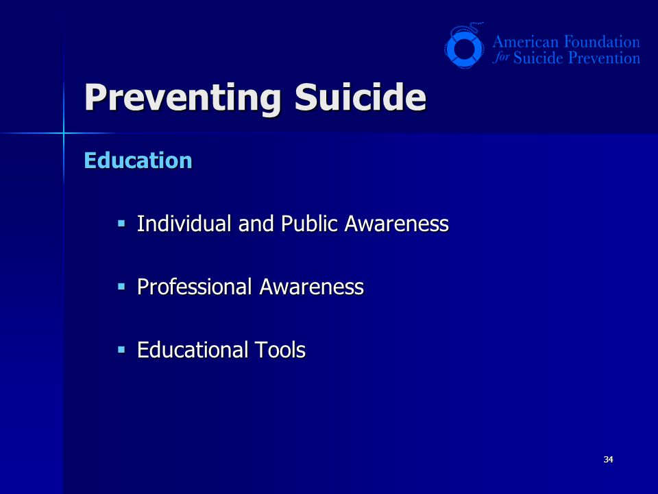 Preventing Suicide Education Individual and Public Awareness