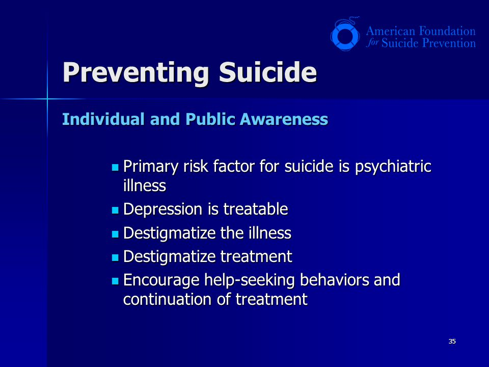 Preventing Suicide Individual and Public Awareness
