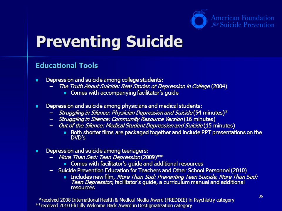 Preventing Suicide Educational Tools