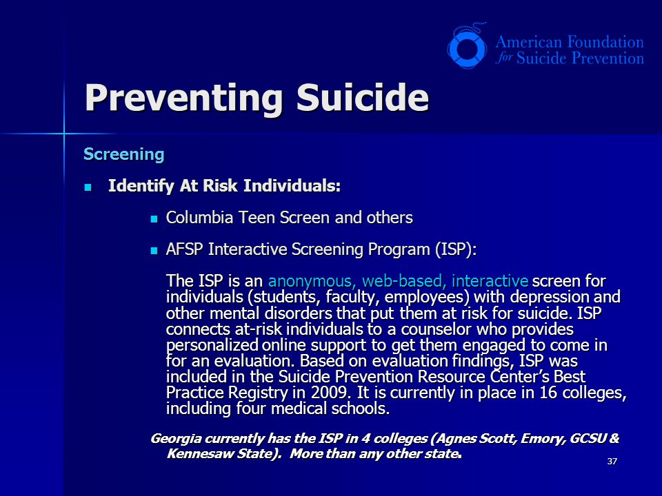 Preventing Suicide Screening Identify At Risk Individuals: