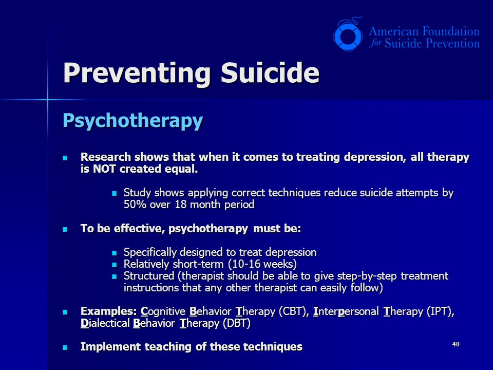 Preventing Suicide Psychotherapy