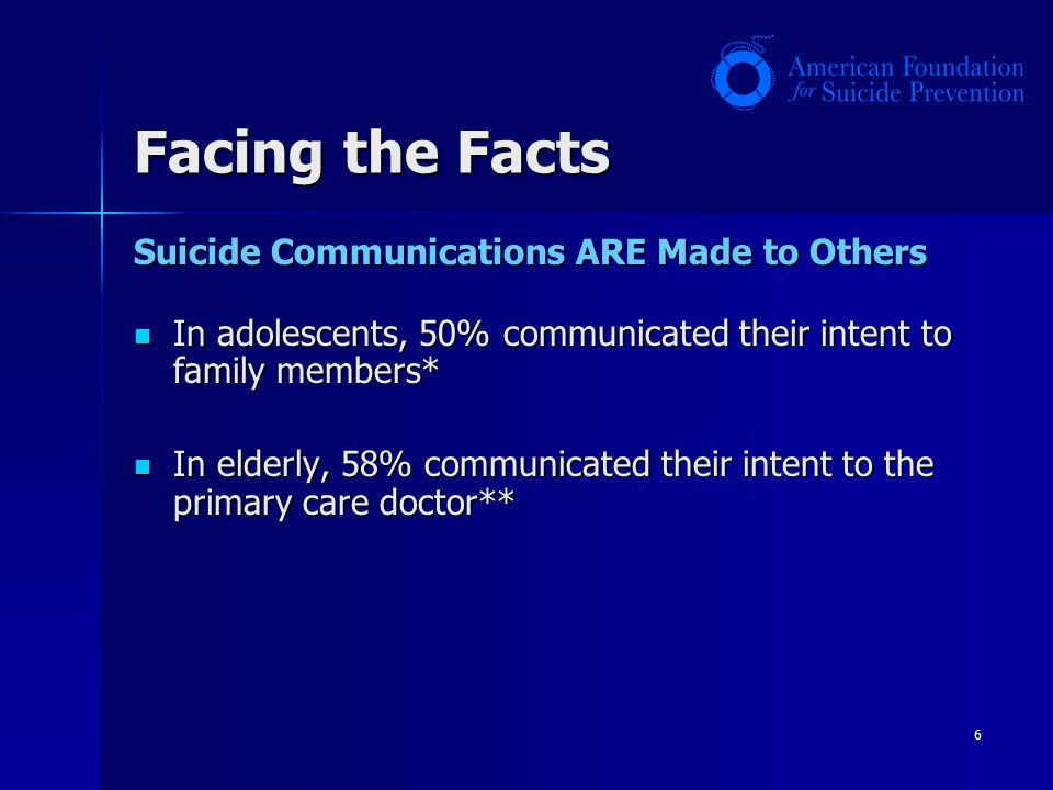 Facing the Facts Suicide Communications ARE Made to Others
