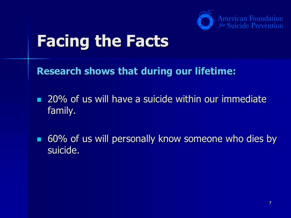 Facing the Facts Research shows that during our lifetime: