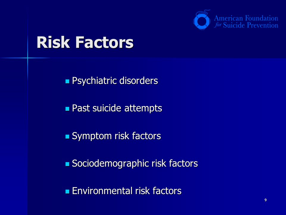 Risk Factors Psychiatric disorders Past suicide attempts
