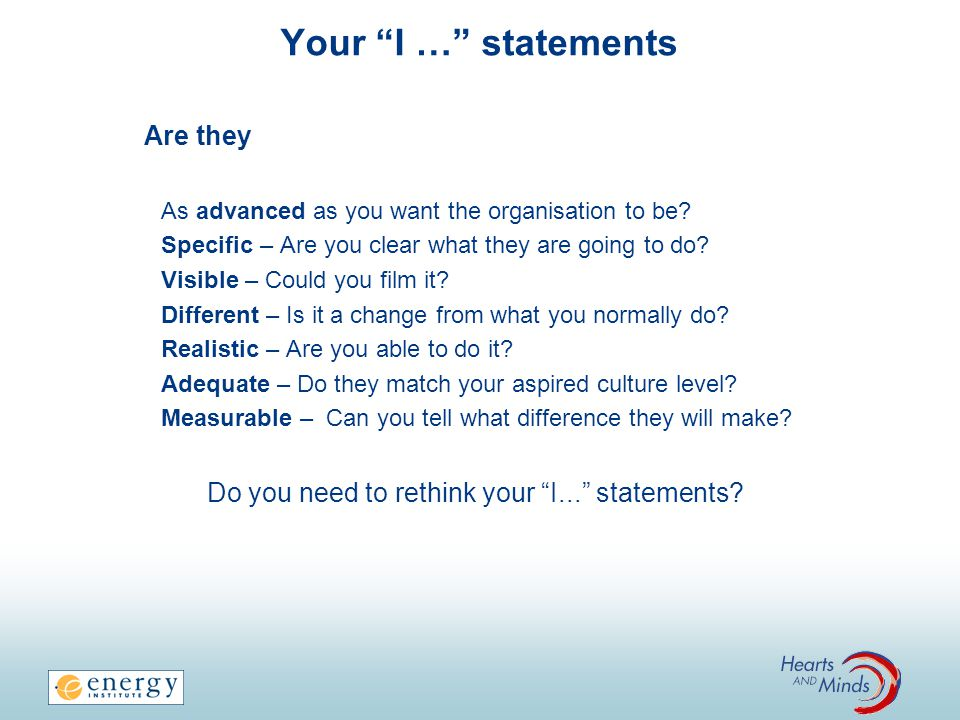 Do you need to rethink your I... statements