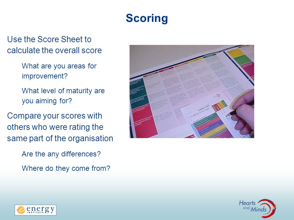 Scoring Use the Score Sheet to calculate the overall score