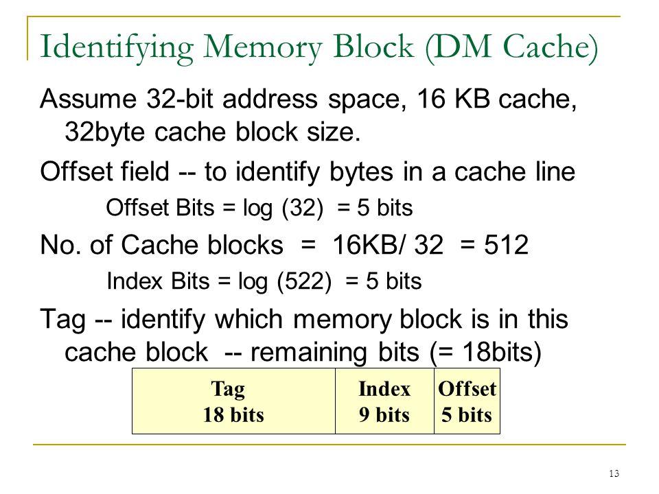 Identifying Memory Block (DM Cache)