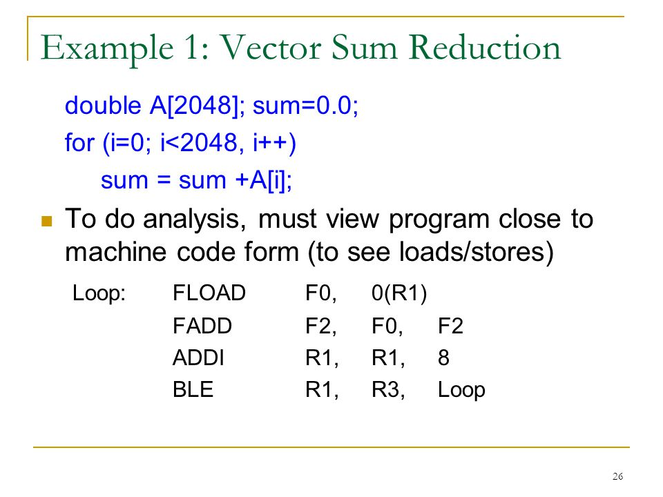 Example 1: Vector Sum Reduction