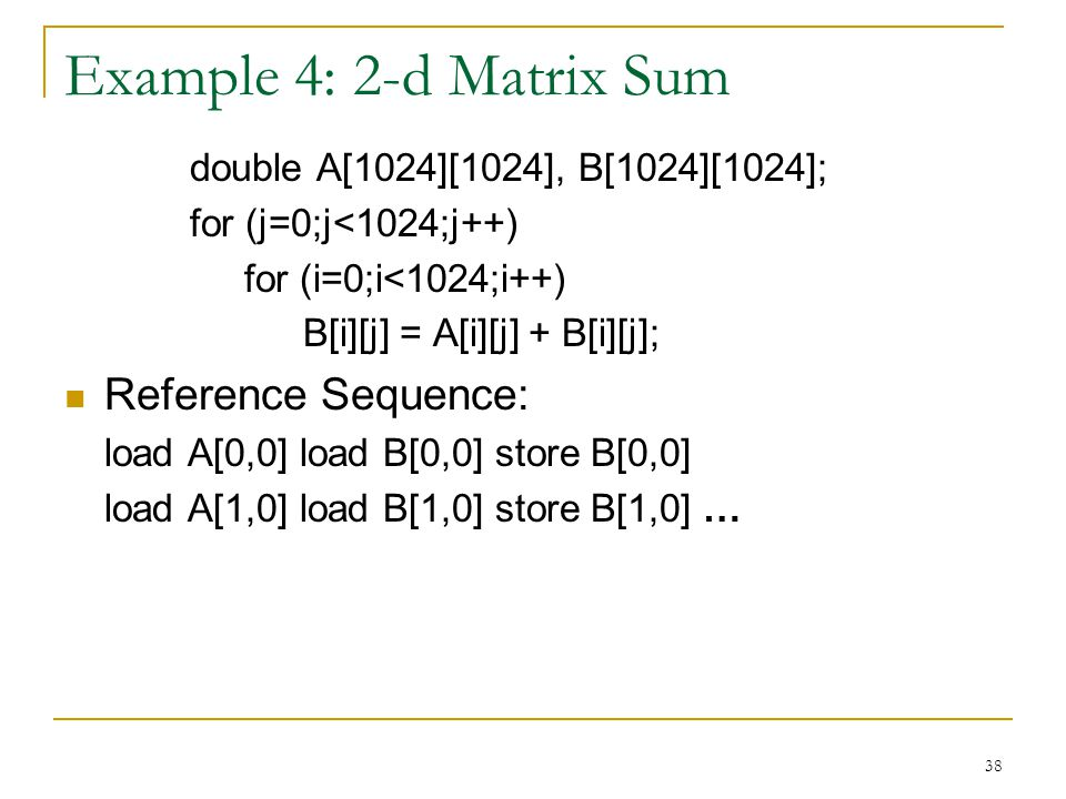 Example 4: 2-d Matrix Sum Reference Sequence: