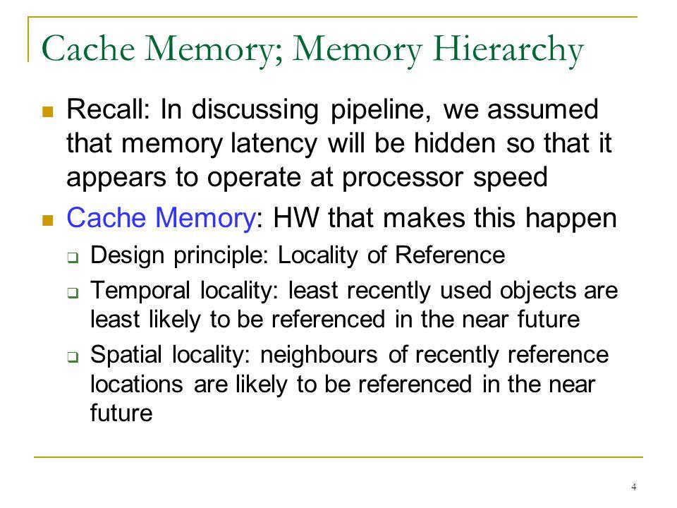 Cache Memory; Memory Hierarchy
