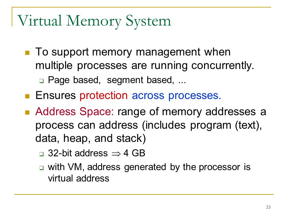 Virtual Memory System To support memory management when multiple processes are running concurrently.
