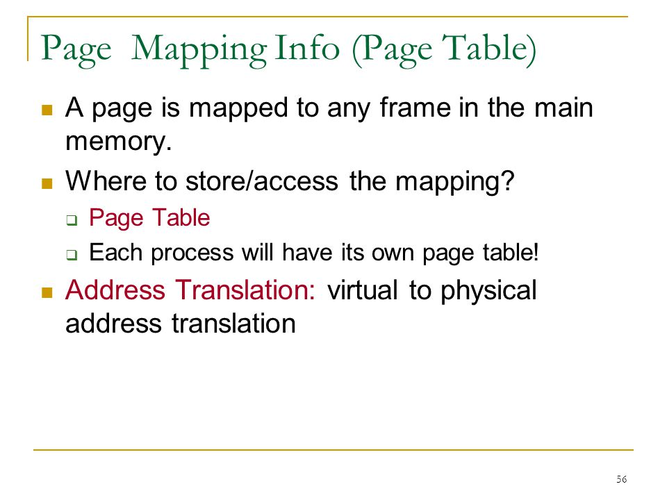 Page Mapping Info (Page Table)