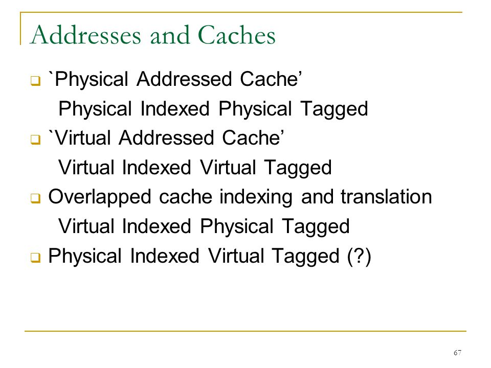 Addresses and Caches `Physical Addressed Cache'