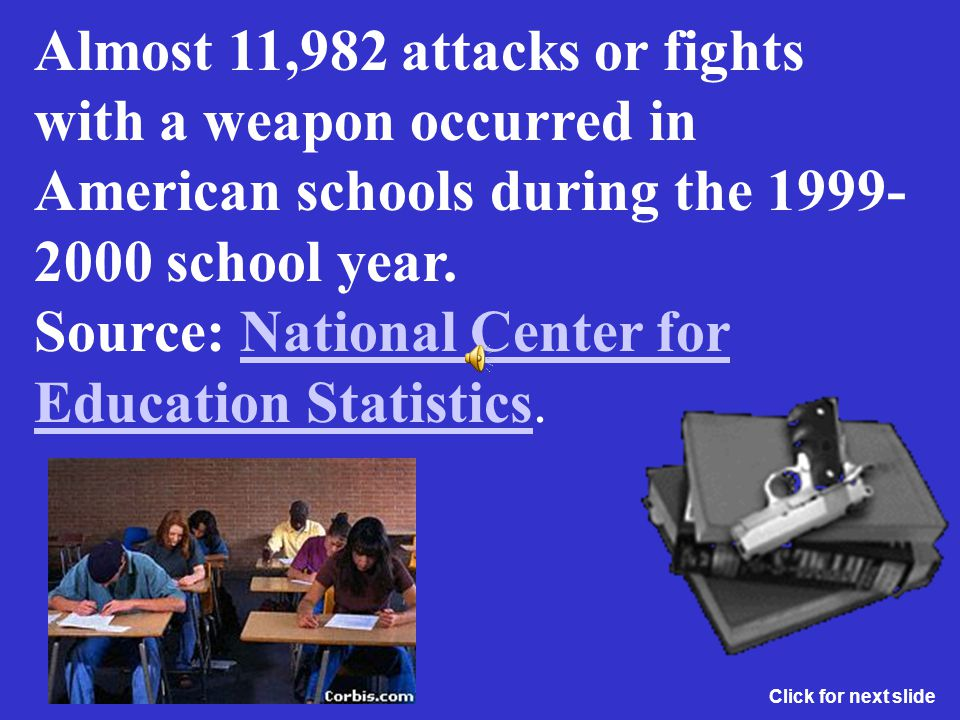 Almost 11,982 attacks or fights with a weapon occurred in American schools during the 1999-2000 school year. Source: National Center for Education Statistics.