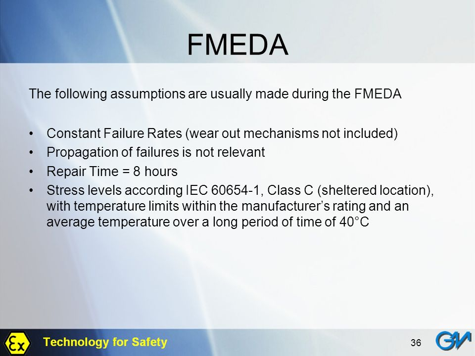 FMEDA The following assumptions are usually made during the FMEDA