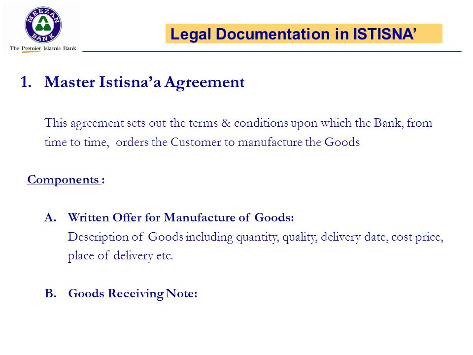 Master Istisna'a Agreement